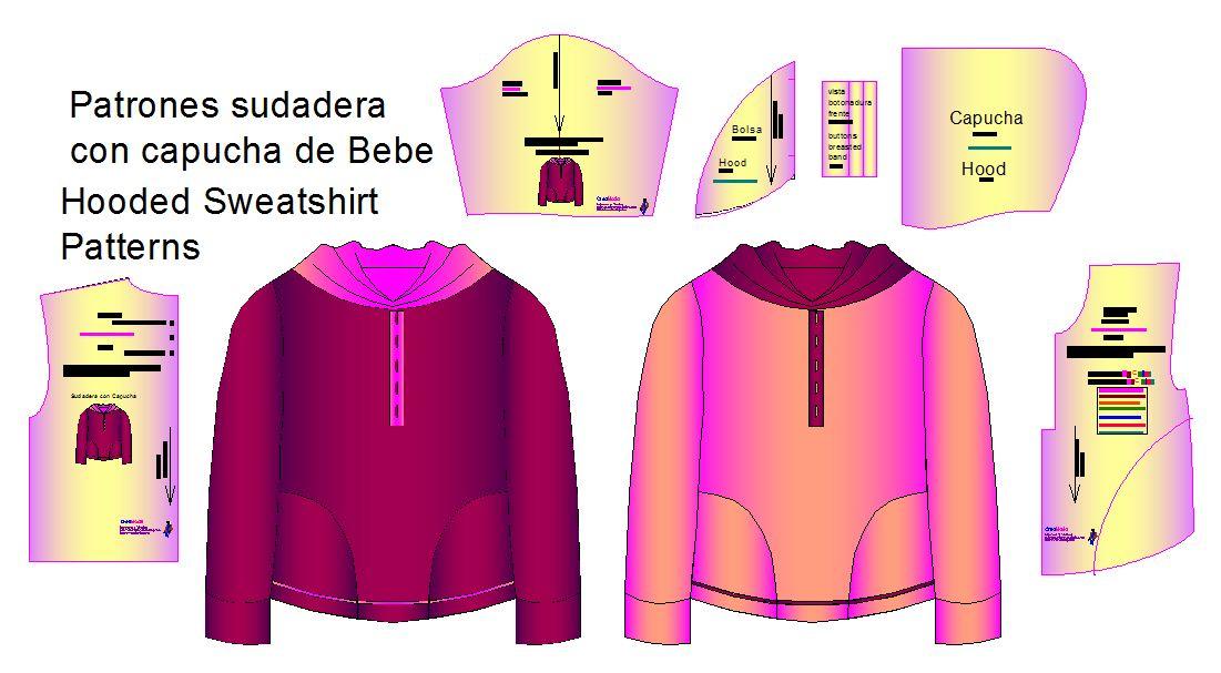 Moldes de Sudadera con Capucha de Bebes - patrones para confeccion ...
